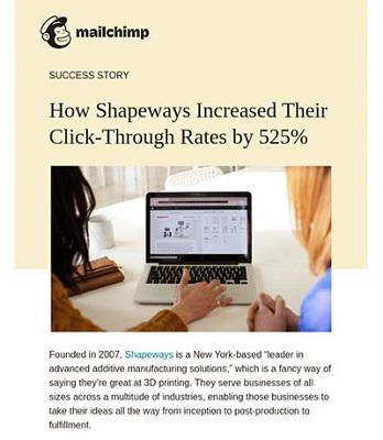 Screenshot einer E-Mail von Mailchimp, die den Erfahrungsbericht eines Kunden in den Vordergrund stellt.