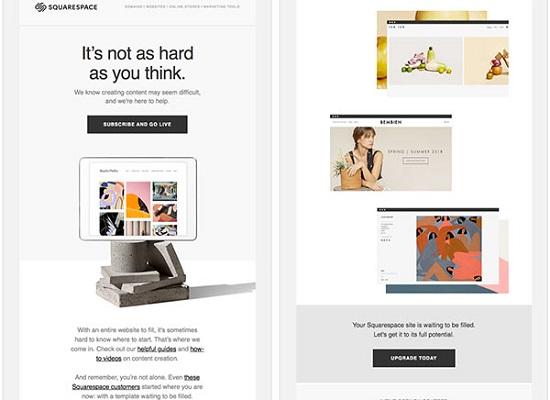 Screenshot einer E-Mail von Squarespace, die während einer kostenlosen Testphase versendet wurde.
