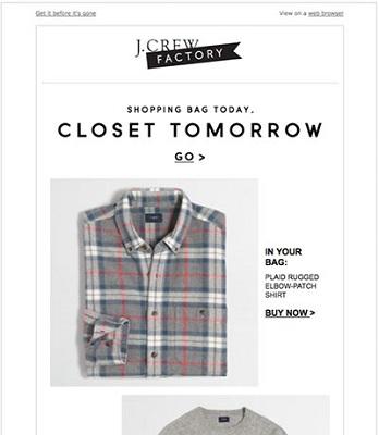 Screenshot einer E-Mail von J. Crew zu einem verlassenen Warenkorb, in dem ein Hemd zu sehen ist.