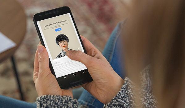 Eine Kundin liest eine E-Mail von Adobe auf ihrem Smartphone.