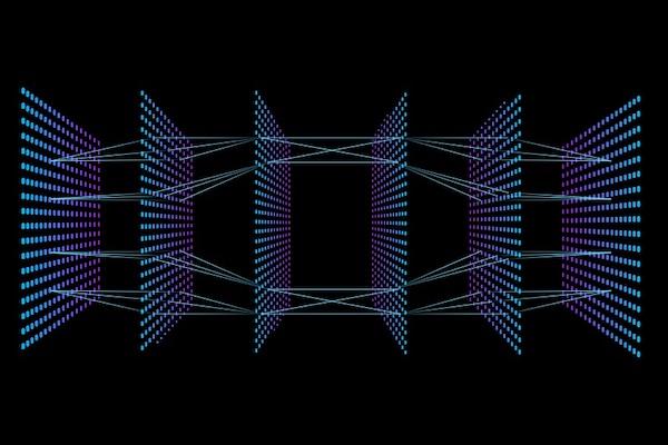 Eine digitale Darstellung eines neuronalen Netzes, symbolisch für maschinelles Lernen im Marketing.