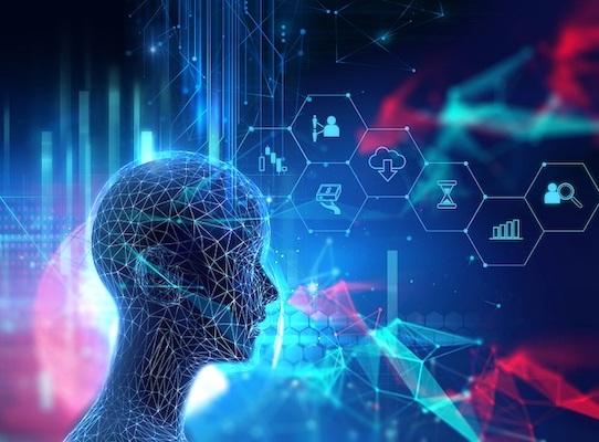 Ein digitaler Mensch visualisiert Symbole, symbolisch für maschinelles Lernen im Marketing.