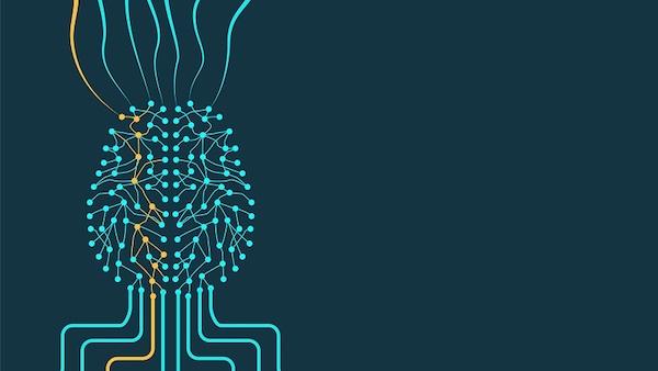Eine digitale Abbildung eines Gehirns, das maschinelles Lernen im Marketing symbolisieren soll.