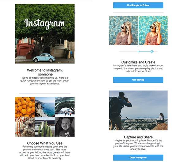 Screenshot einer Willkommens-E-Mail von Instagram mit quadratischen Fotos.