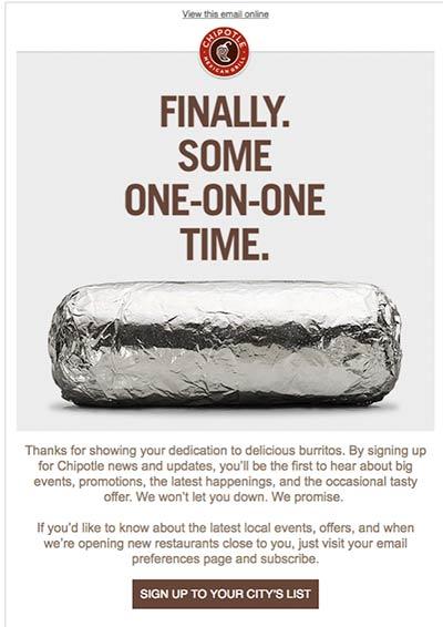 Willkommens-E-Mail von Chipotle mit Abbildung eines in Folie verpackten Burritos.