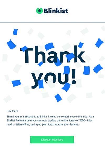 Willkommens-E-Mail von Blinkist mit einem 'Danke!' und jeder Menge Konfetti.