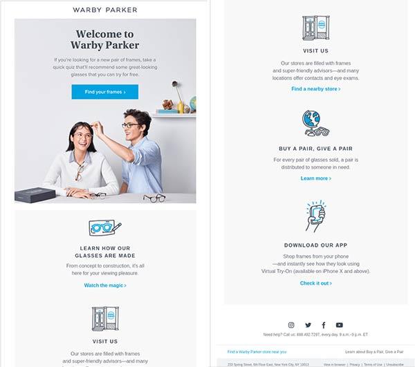 Screenshot der Willkommens-E-Mail von Warby Parker.