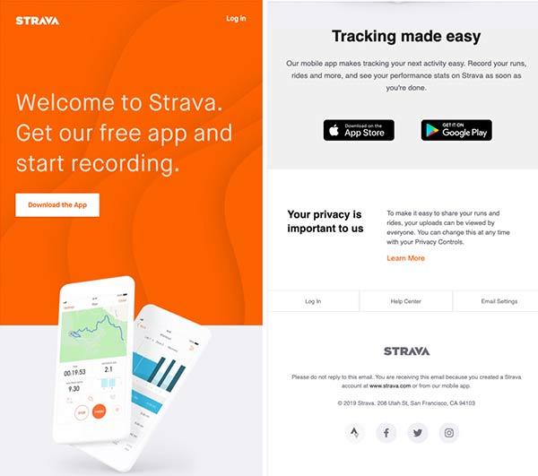 Screenshot der Willkommens-E-Mail, die Abonnenten einlädt, die Strava-App herunterzuladen.