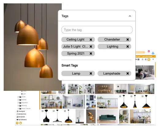 Canto gallery image library showing image with lamps and associated metadata tags.