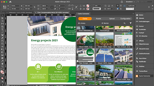 Screenshot of flyer design showing Canto image library integration in InDesign.