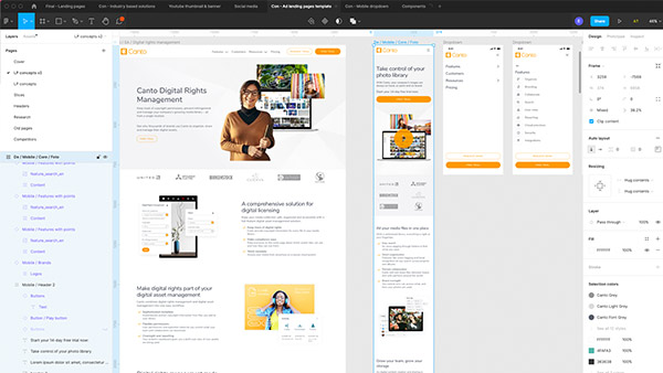 Screenshot of website designs in progress in Figma.