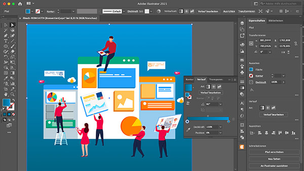 Screenshot of a vector illustration work in progress in Adobe Illustrator.
