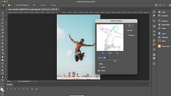 Screenshot of Photoshop's trace contour feature.