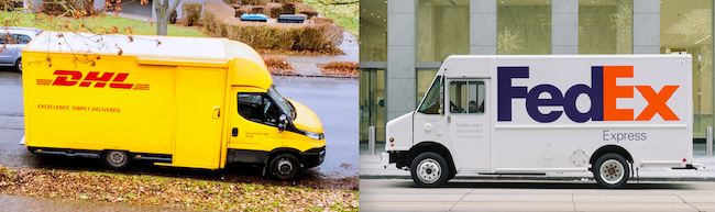 A DHL truck next to a FedEx truck, demonstrating how color aids brand recognition.