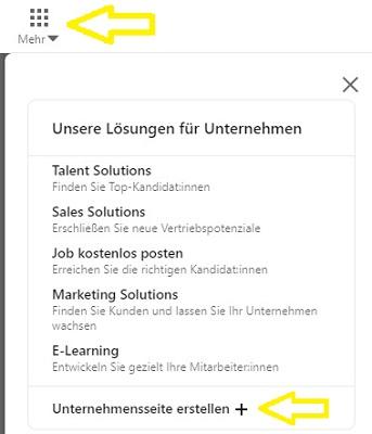 Ein Screenshot der Benutzeroberfläche von LinkedIn, der erklärt, wie Sie ein Business-Profil auf LinkedIn anlegen können.