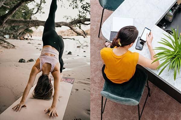 Eine Frau macht Yoga am Strand und eine Frau ruft im Büro E-Mails ab.