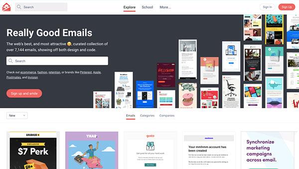 Screenshot der Homepage von Really Good Emails.