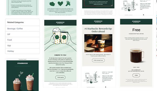 Screenshot einer Zusammenstellung von Starbucks-E-Mails in Really Good Emails, einem Beispiel für gute E-Mail-Marketing-Ressourcen.