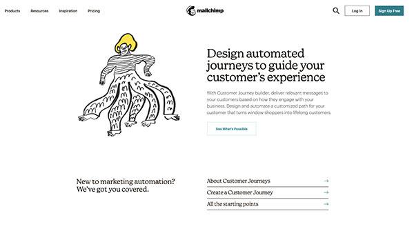 Screenshot von der Webseite von Mailchimp mit E-Mail-Marketing-Ressourcen.