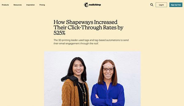 Screenshot des Fallbeispiels von Mailchimp über Shapeways CTR-Steigerung von 525 %.