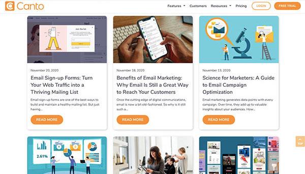 Screenshot der Artikel zum Thema E-Mail-Marketing im Canto Blog.