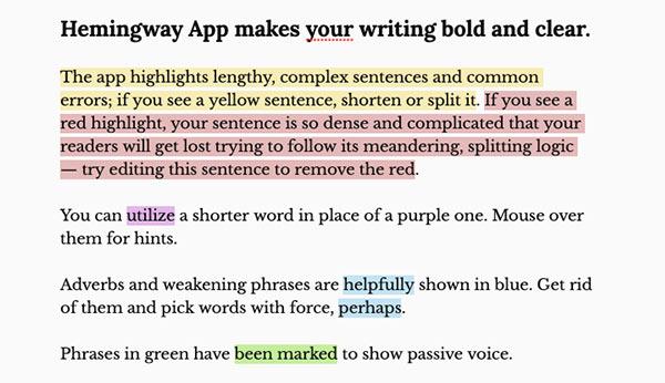 Screenshot mit Beispielkommentaren der Hemingway-App.
