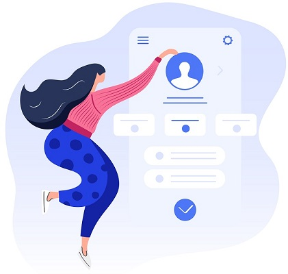 Eine Frau erstellt ein Profil, das sie für eine LinkedIn-Marketing-Strategie braucht.