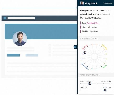 Die Benutzeroberfläche der Crystal-App, einem nützlichen LinkedIn-Werkzeug.