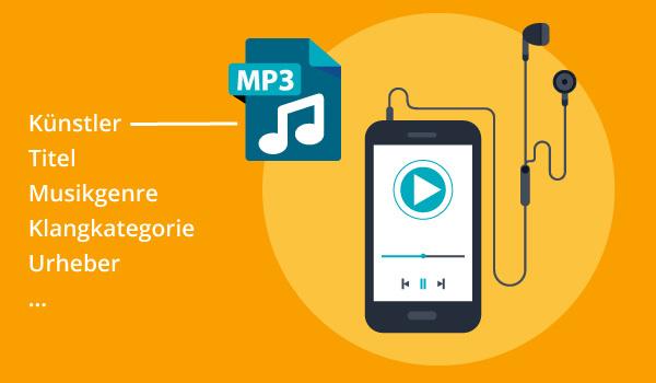 Eine Illustration der Informationen einer MP3-Datei.
