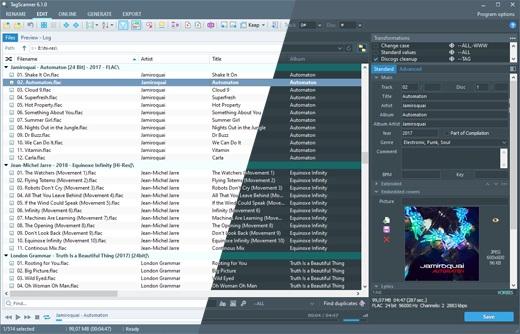 Die Benutzeroberfläche von TagScanner, einem MP3 Metadata Editor.