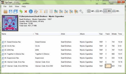 Die Benutzeroberfläche von TigoTago, einem MP3 Metadata Editor.