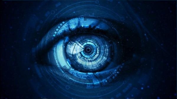 Ein digitales Auge, das wie eine Kameralinse aussieht.