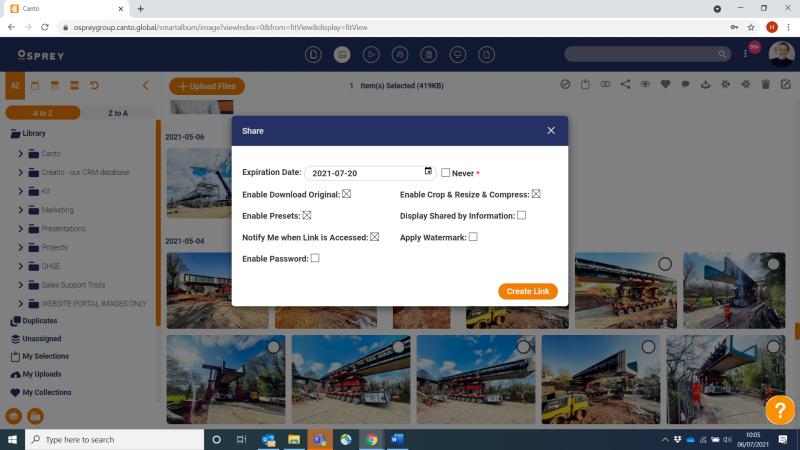 Osprey Group | Canto Screenshot sharelinks