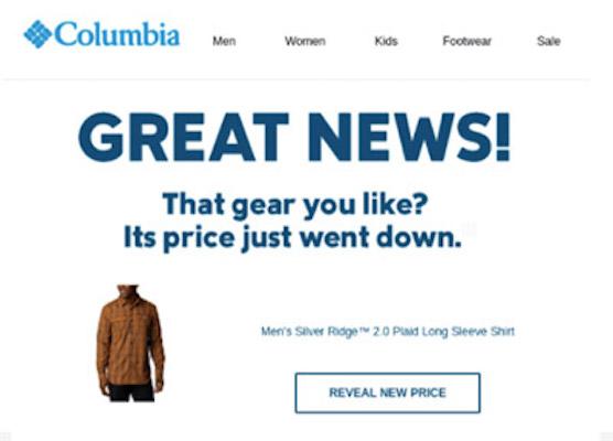 Eine Verlassener-Warenkorb-E-Mail von Columbia, die eine Preissenkung vermeldet.
