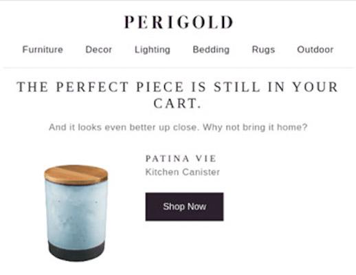 Screenshot einer verlassenen-Warenkorb-E-Mail von Perigold mit einem Küchenbehälter in blauer Marmoroptik.