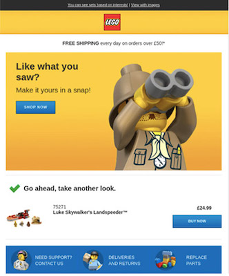 Screenshot einer Verlassener-Warenkorb-E-Mail von Lego, in der ein Lego-Männchen durch ein Fernglas schaut.