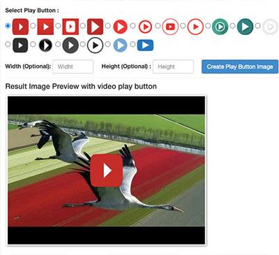 Screenshot einer Webanwendung, mit der man verschiedene Abspielschaltflächen über ein Bild legen kann, ein nützliches Hilfsmittel für das Video-E-Mail-Marketing.