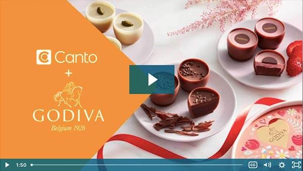 Standbild aus einem Video, das die Logos von Canto und Godiva mit Godiva Pralinen zeigt.