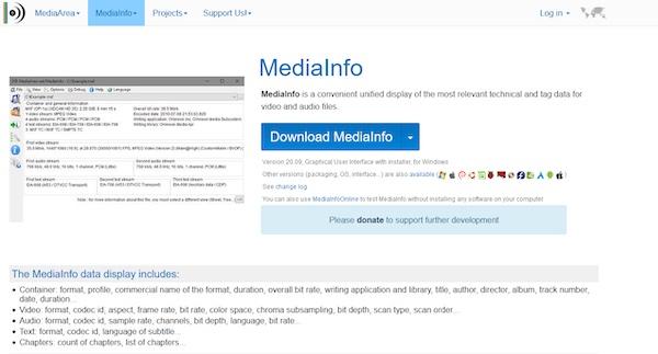 Die Webseite von Mediainfo, einem Programm zur Anzeige von Video-Metadaten.
