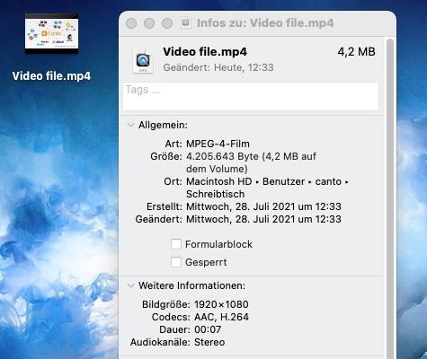 Ein Informationsfenster mit Video-Metadaten auf einem Mac.