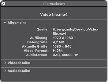 Die Detailangaben für Video-Metadaten unter Mac.