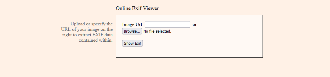 The Online Exif Viewer tool.