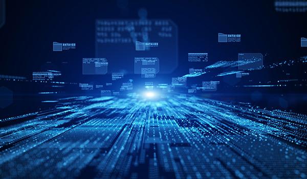 Darstellung eines fließenden Datenstroms von Datei-Metadaten in einem Rechner.
