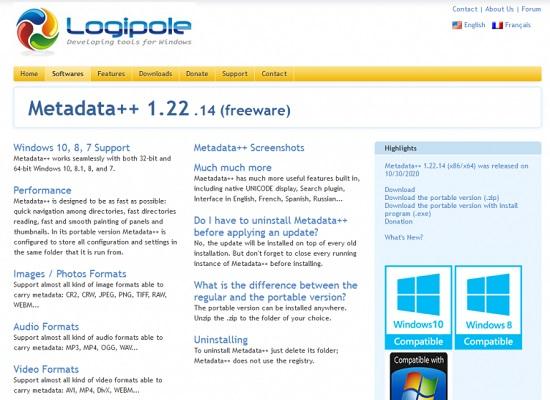 Die Webseite von Metadata++, einem Werkzeug für Datei-Metadaten.