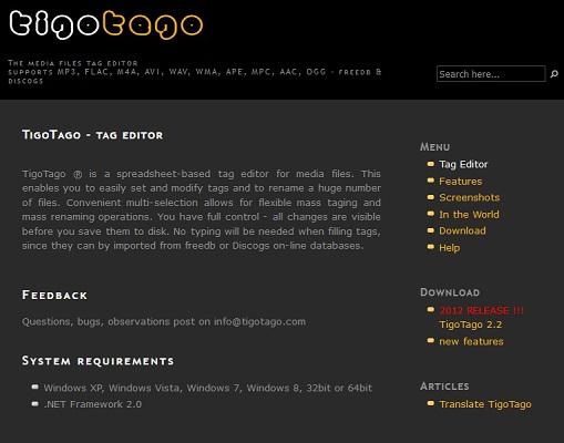 Die Benutzeroberfläche von TigoTago.