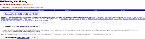 Die Benutzeroberfläche von ExifTool, einem weiteren, gängigen Werkzeug für Datei-Metadaten.