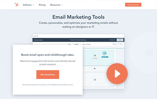Die Webseite von Hubspot für kostenloses E-Mail-Marketing.