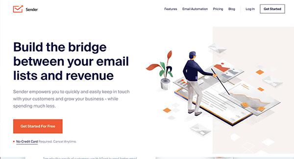 Die Website für kostenloses E-Mail-Marketing des Anbieters Sender.
