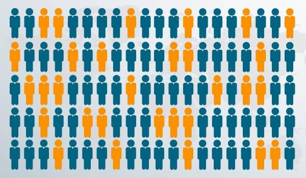 Illustration von Abonnenten eines E-Mail-Verteilers, unterteilt in eine blaue und orangefarbene Gruppe.