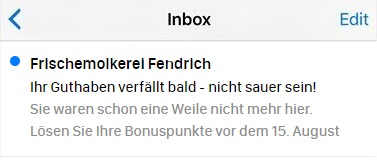 E-Mail-Betreffzeile, die davor warnt, dass die Bonuspunkte verfallen, ein gutes Beispiel für eine Reaktivierungs-E-Mail.